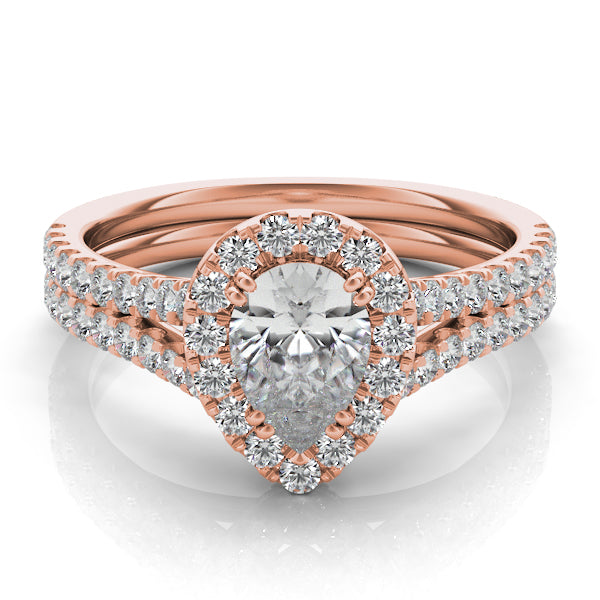 14k Rose Gold & Diamond Band Setting for Pear Shaped Stone