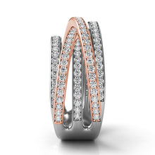 14k Rose & White Gold with Diamonds Multi Wrap Ring