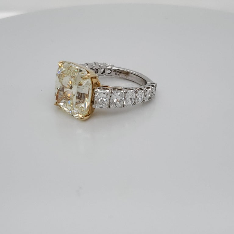 Certified 12.50 Carat Fancy Yellow Radiant Diamond Platinum Ring
