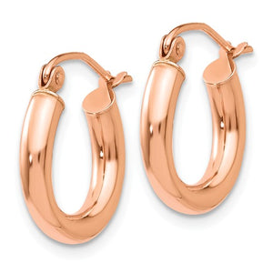 14k Rose Gold High Polished Small Hoops
