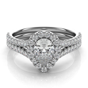 Pear Shape Diamond Engagement Ring with Diamond Halo in 14k Gold