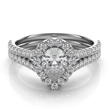 Pear Shape Diamond Engagement Ring with Diamond Halo in Platinum