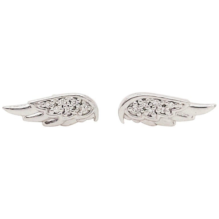 Diamond Angel Wings Earring Studs