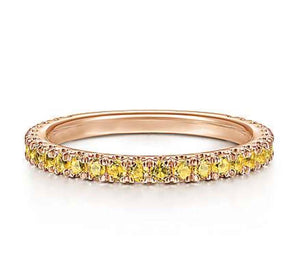 Genuine Yellow Sapphire Gemstone Stackable 3/4 Band