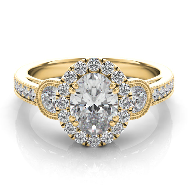 14k Gold Diamond Halo & Band Setting with Side Stones
