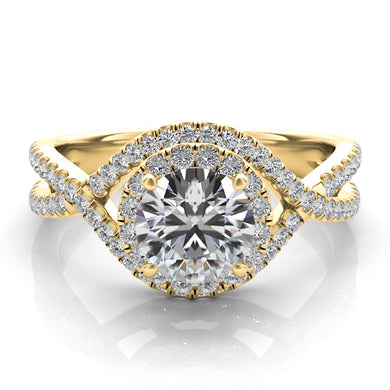 Diamond Engagement Ring with Double Halo in 14k Gold