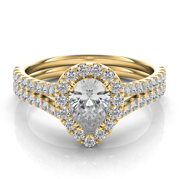 14k Gold & Diamond Ring for Pear Shaped Stone