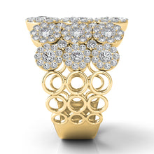 Multi Diamond Halo Fashion Ring in 14k Gold