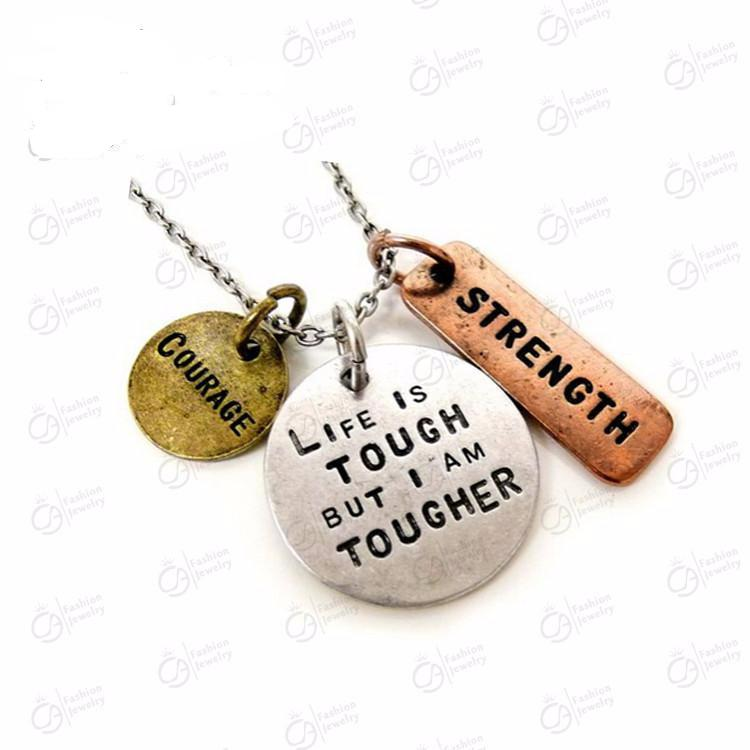 necklace jewelry pendant inspirational quan with courage box and products gift elephant quote lucie pendants