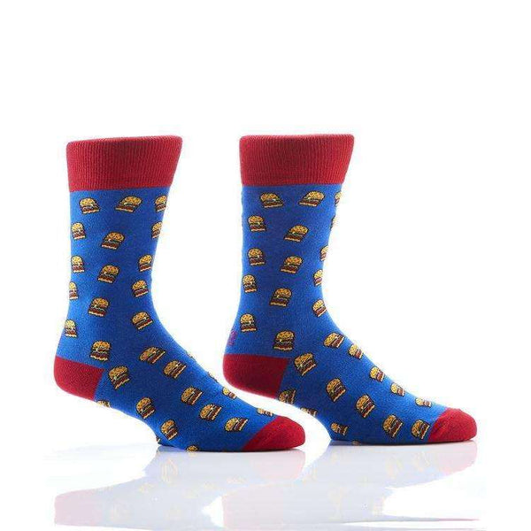 YO SOX HAMBURGERS MEN'S CREW SOCKS, NOVELTY, Styles For Home Garden & Living, Styles For Home Garden & Living