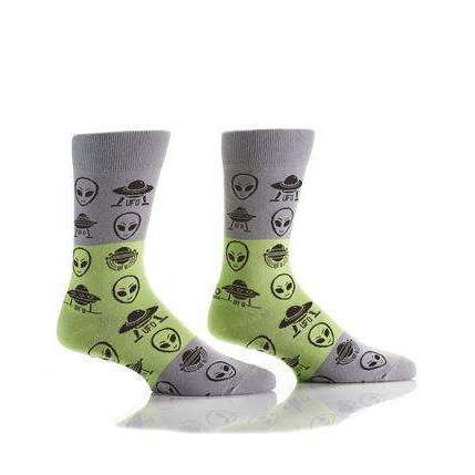 YO SOX ALIENS MEN'S CREW SOCKS, NOVELTY, Styles For Home Garden & Living, Styles For Home Garden and Living