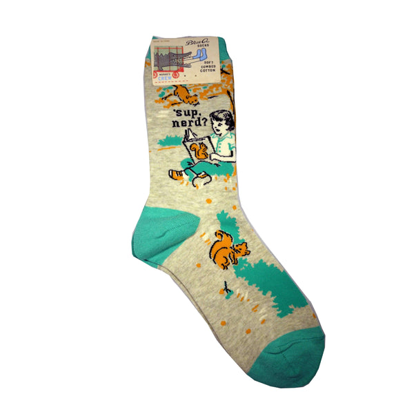 BLUE Q 'SUP NERD WOMEN'S SOCKS, ACCESSORIES, Styles For Home Garden & Living, Styles For Home Garden and Living