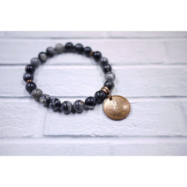 DBL DESIGNS LUCKY PENNY BLACK & GREY BEAD BRACELET, ACCESSORIES, Styles For Home Garden & Living, Styles For Home Garden & Living