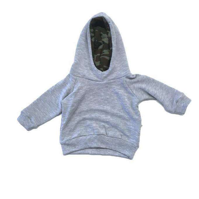 PORTAGE AND MAIN PORTAGE AND MAIN GREY BABY HOODIE W/CAMO LINING, KIDS, Styles For Home Garden & Living, Styles For Home Garden & Living