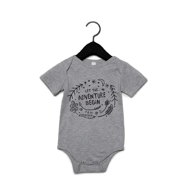 PORTAGE AND MAIN GREY UNISEX BABY ONESIE 'LET THE ADVENTURE BEGIN', KIDS, Styles For Home Garden & Living, Styles For Home Garden & Living