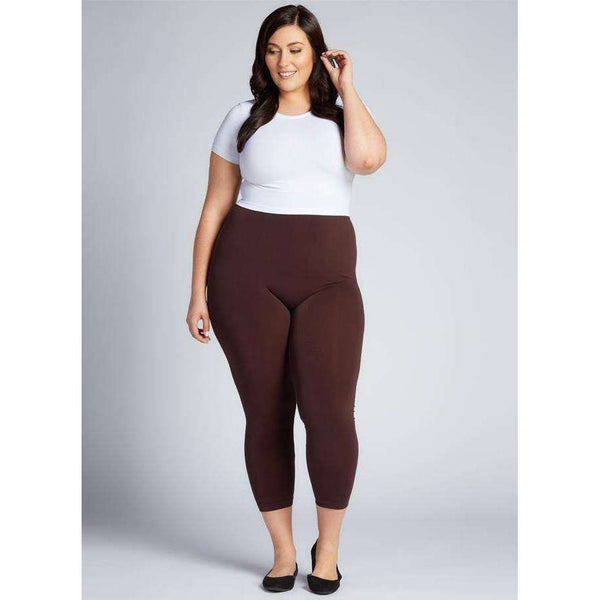 C'EST MOI BAMBOO PLUS SIZE 3/4 LEGGINGS - BROWN, WOMENS, Styles For Home Garden & Living, Styles For Home Garden and Living