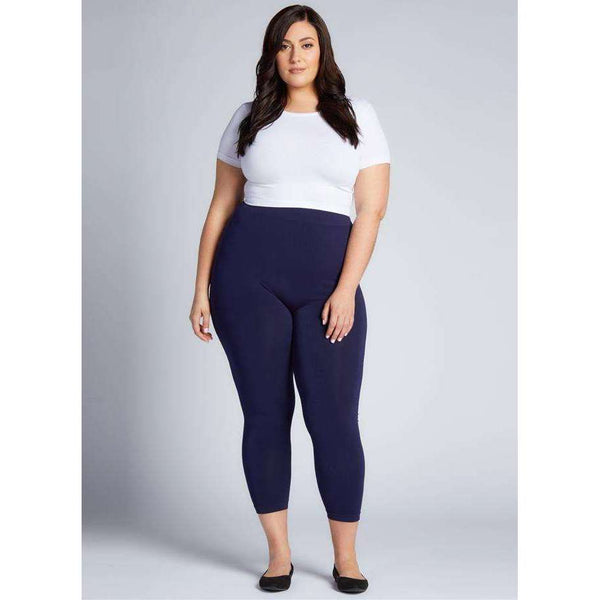 C'EST MOI BAMBOO PLUS SIZE 3/4 LEGGINGS - NAVY, CLOTHING, Styles For Home Garden & Living, Styles For Home Garden and Living