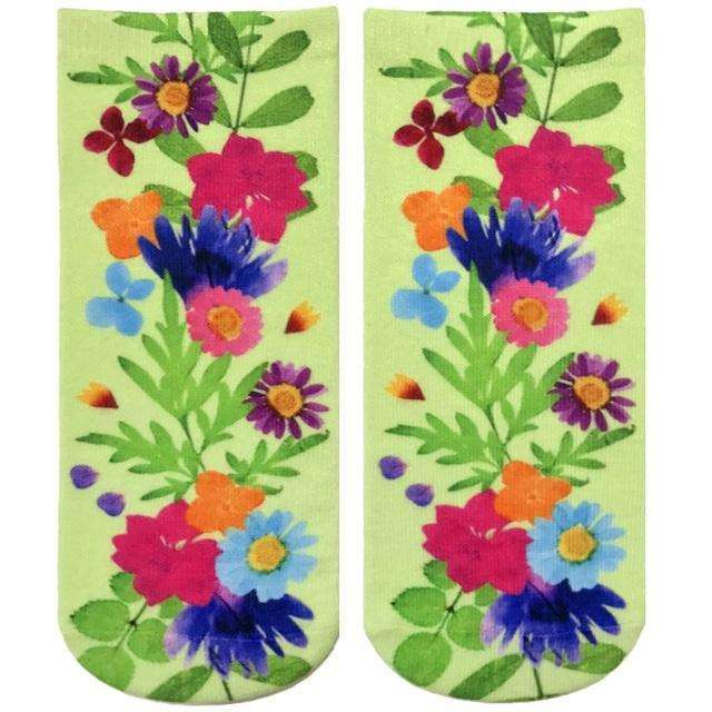 LIVING ROYAL PRESSED FLOWERS ANKLE SOCKS, ACCESSORIES, Styles For Home Garden & Living, Styles For Home Garden & Living
