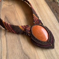 HANDMADE ELEVEN STONES NECKLACE ORANGE JASPER ON BRWN/ORANGE THREAD