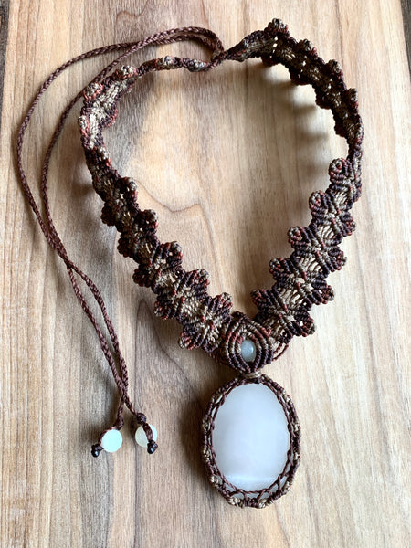 HANDMADE ELEVEN STONES MACRAME NECKLACE CLEAR CALCITE W/BROWN THREAD