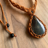 HANDMADE ELEVEN STONES MACARAME NECKLACE JASPER W/ORANGE THREAD