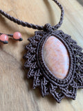 HANDMADE ELEVEN STONES NECKLACE PEACH CALCITE W/PURPLE THREAD