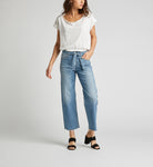 SILVER JEANS LIGHT 'TIED AND WIDE' DENIM W/FRAYED LEG HEM