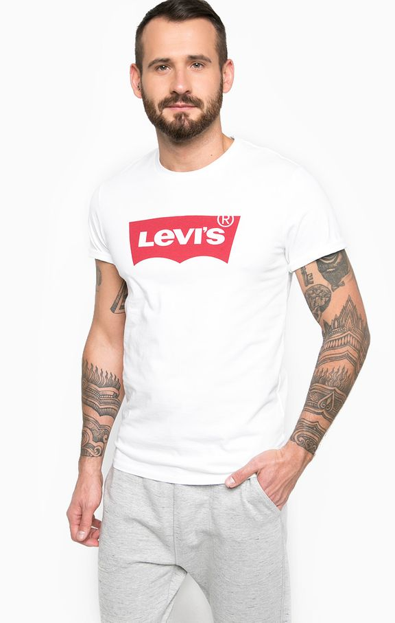 LEVIS MEN'S TEE WHITE WITH RED LOGO, MENS, Styles For Home Garden & Living, Styles For Home Garden & Living