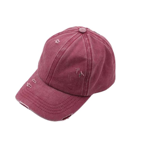 WASHED DENIM HAT PONY HOLE CAP BERRY