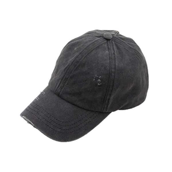 WASHED DENIM HAT PONY HOLE CAP BLACK
