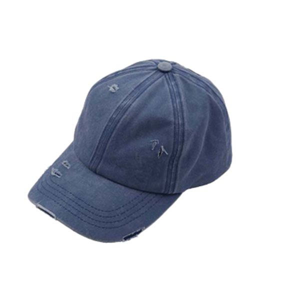 WASHED DENIM HAT PONY HOLE CAP NAVY