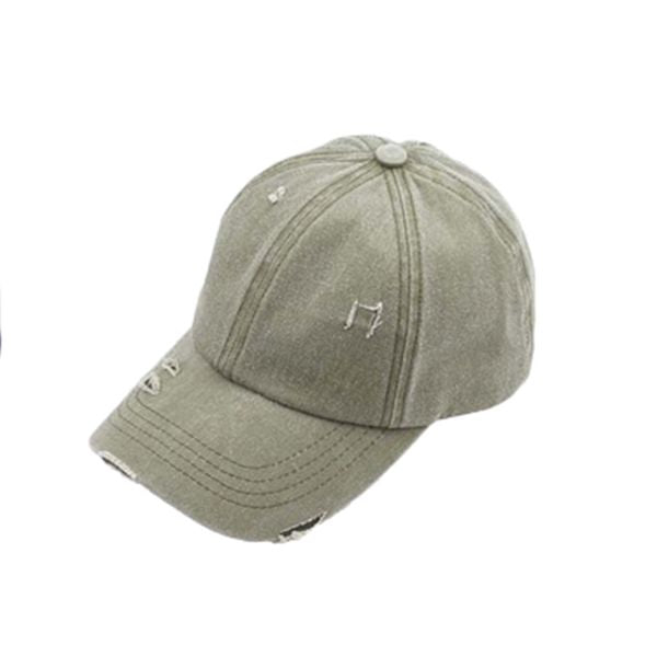 WASHED DENIM HAT PONY HOLE CAP OLIVE