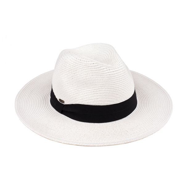 WHITE PANAMA HAT WITH WIDE BLACK BAND