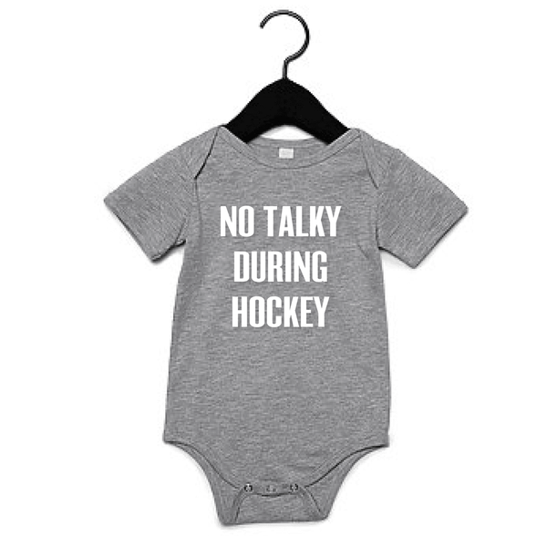 PORTAGE AND MAIN GREY BABY ONESIE 'NO TALKY DURING HOCKEY', KIDS, Styles For Home Garden & Living, Styles For Home Garden & Living