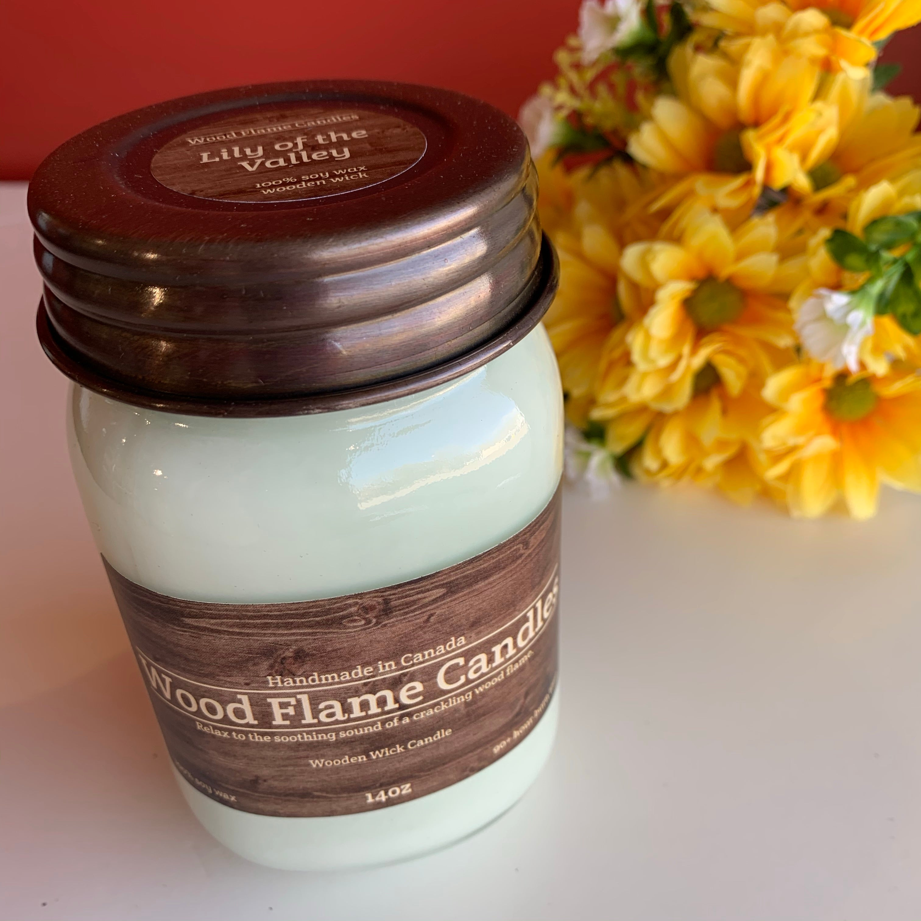 WOOD FLAME CANDLES LILY OF THE VALLEY 14OZ