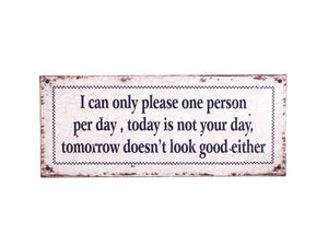 METAL WALL PLAQUE SIGN I CAN ONLY PLEASE ONE PERSON PER DAY