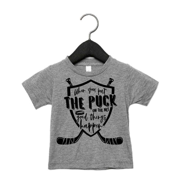 PORTAGE + MAIN WHEN YOU PUT THE PUCK IN THE NET GOOD THINGS HAPPEN TEE CHARCOAL, KIDS, Styles For Home Garden & Living, Styles For Home Garden & Living