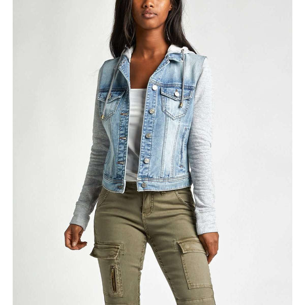 SILVER JEANS STIRLING LIGHT WASH JEAN JACKET W/GREY HOOD, WOMENS, Styles For Home Garden & Living, Styles For Home Garden and Living