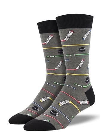 SOCKSMITH MEN'S SOCKS POWER PLAY HOCKEY GREY