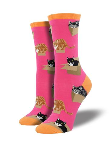 SOCKSMITH WOMEN'S SOCKS CAT IN A BOX PINK