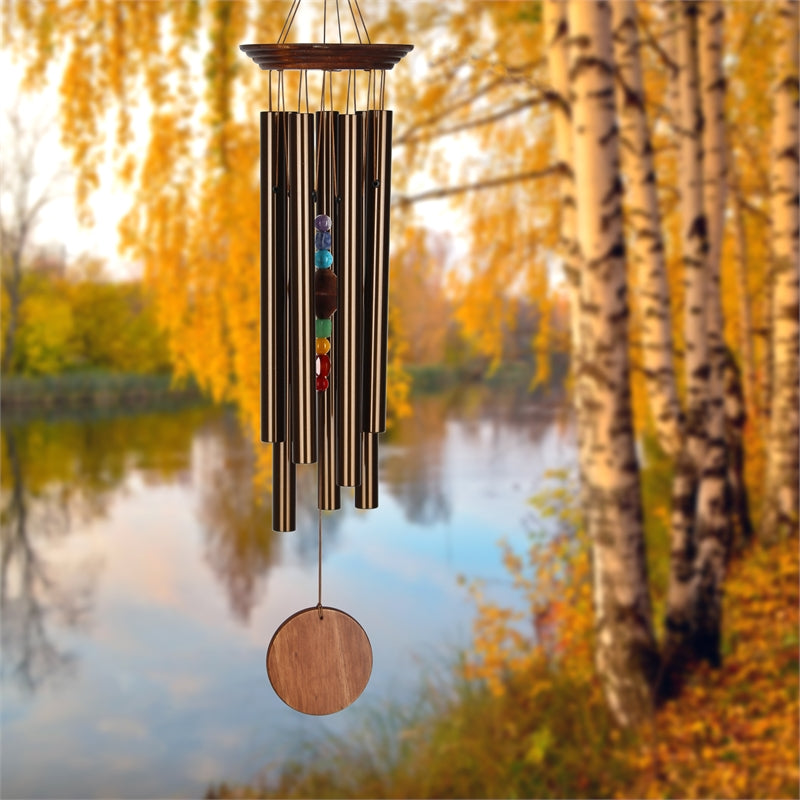 WOODSTOCK BRONZE CHAKRA CHIMES WITH 7 STONES