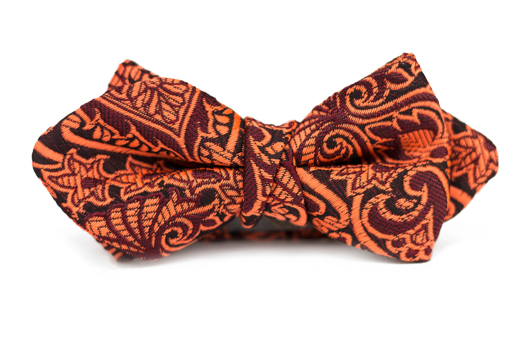 Orange Burgundy Paisley