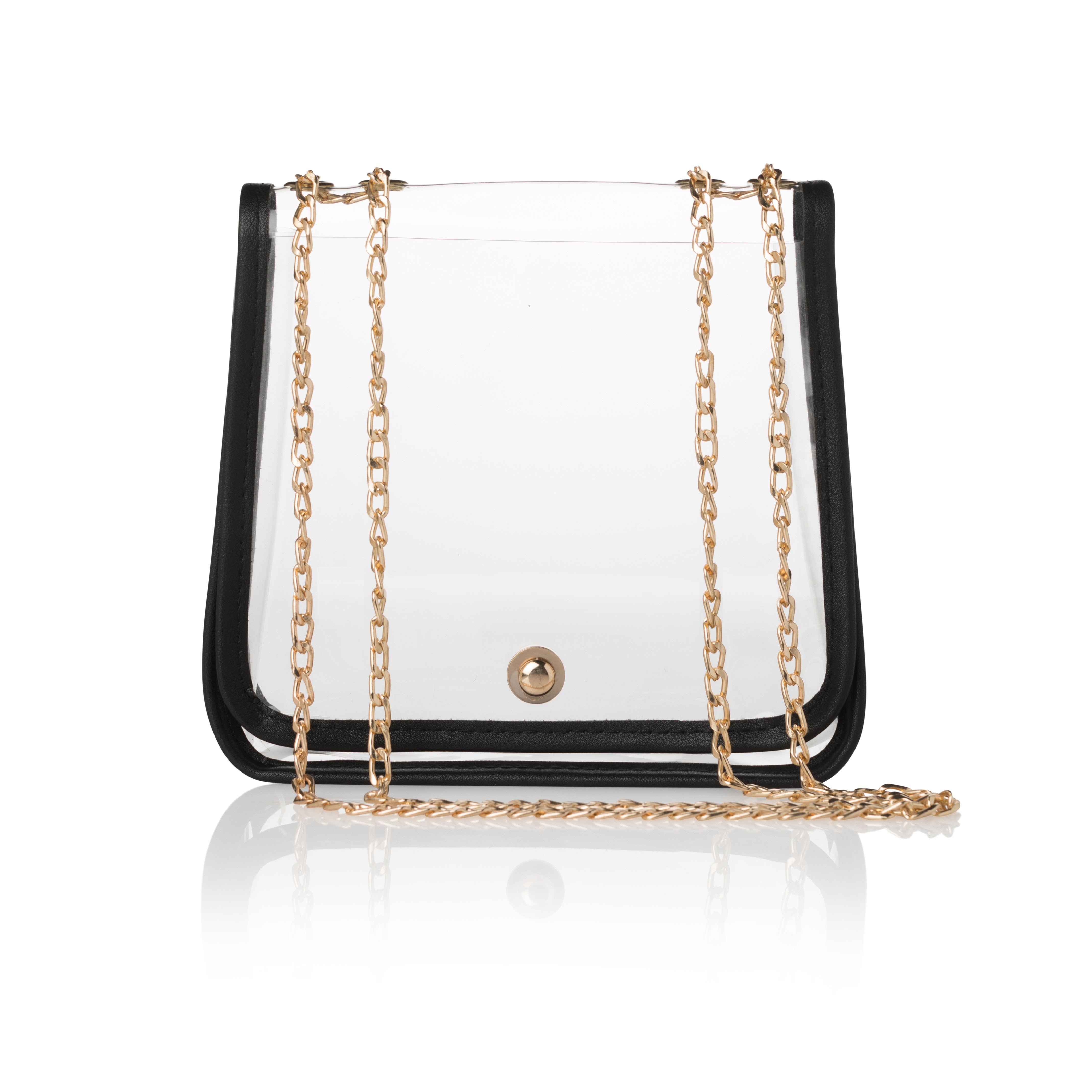 1a2aceec60 Fanfare Clear Stadium Approved Adjustable Crossbody with Black trim