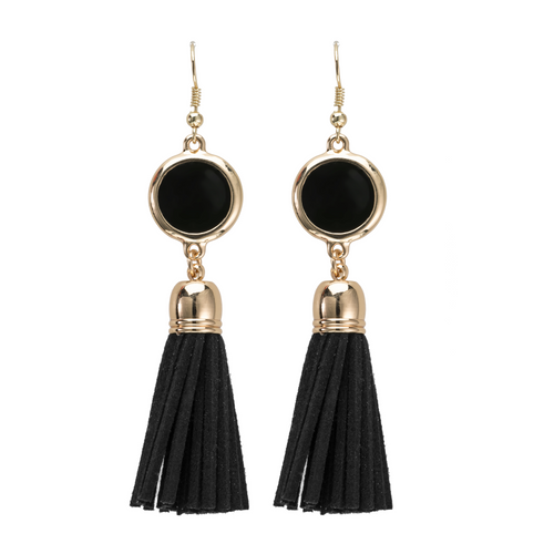 Black suede tassel earrings with gold accents and enamel disk for monogramming.