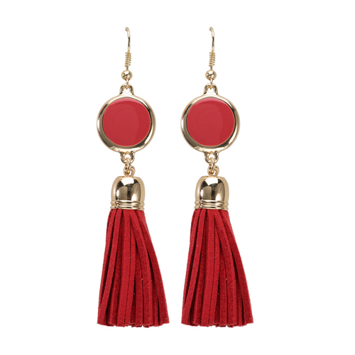 Crimson suede tassel earrings with gold accents and enamel disk for monogramming.