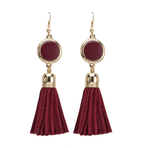 Maroon suede tassel earrings with gold accents and enamel disk for monogramming.