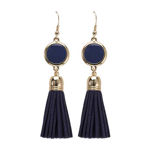 Navy Blue suede tassel earrings with gold accents and enamel disk for monogramming.