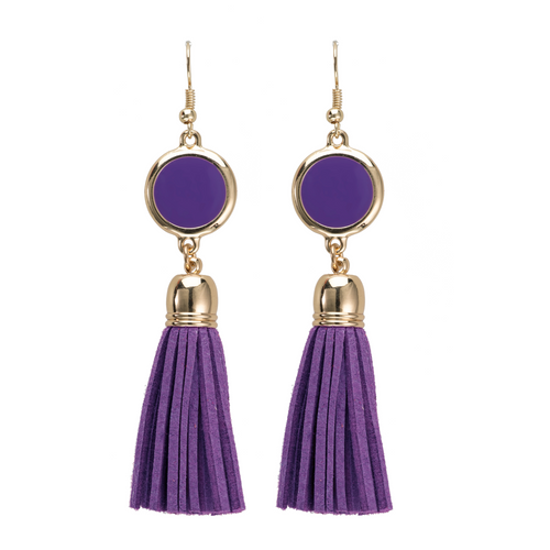 Purple suede tassel earrings with gold accents and enamel disk for monogramming.