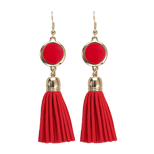 Red suede tassel earrings with gold accents and enamel disk for monogramming.