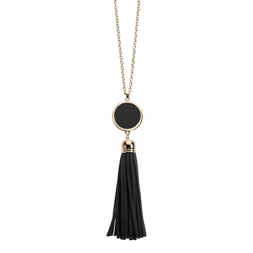 Black suede tassel necklace with gold accents and enamel disk for monogramming.